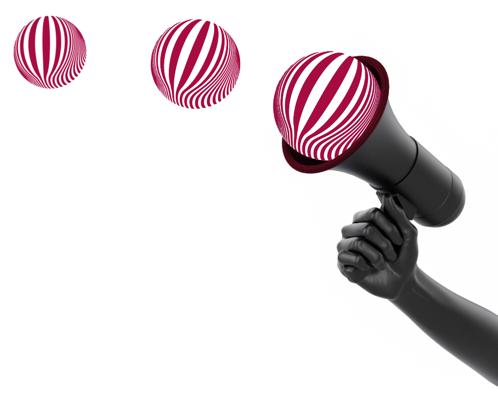 Megaphon mit roten Bällen